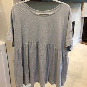 Anthropologie Grey Oversized Babydoll Top